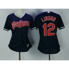 MLB Cleveland Indians 12 Francisco Lindor Navy Blue Stitched Majestic Cool Base Women Jersey
